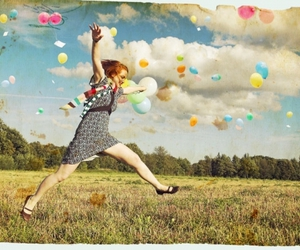girl, balloons, and jump image