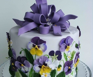 cake, flowers, and pansy image