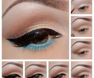 makeup, blue, and black image