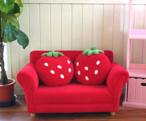 strawberry, red, and sofa image
