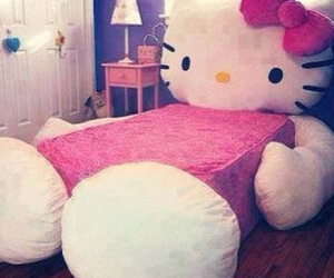 hello kitty, bed, and pink image