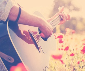 guitar, flowers, and music image