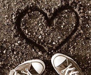 converse, heart, and sand image