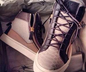 giuseppe zanotti, golden, and sneakers image
