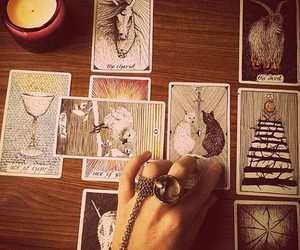 Darkness, tarot cards, and mystic image