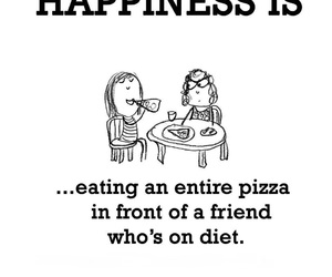 friend, happiness, and pizza image