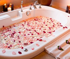 bath, flowers, and girly image