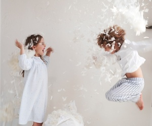 kid, kids, and pillow fight image
