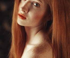 girl, orange, and freckles image