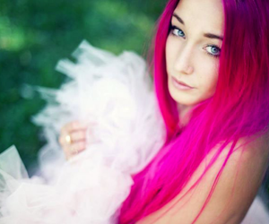 blue eyes, colorful hair, and make up image