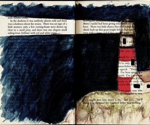book, lighthouse, and art image