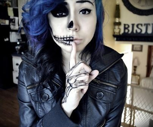 girl, skull, and blue image