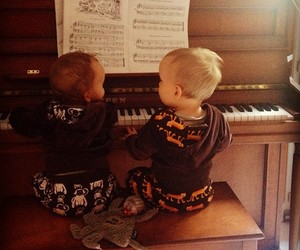 babies, piano, and twins image