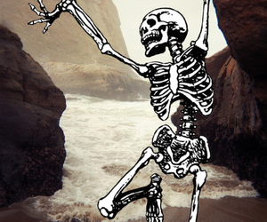 skeleton, skull, and beach image