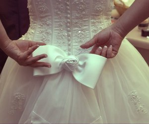 white, dress, and bow image