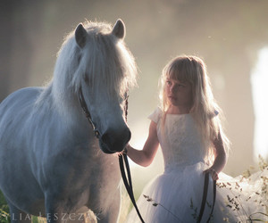 girl, horse, and white image