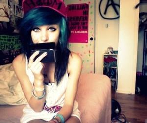 beautiful girl, blue hair, and scene hair image