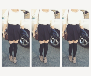 fashion, kneehighs, and outfit image