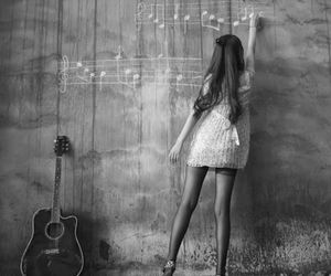 music, girl, and guitar image