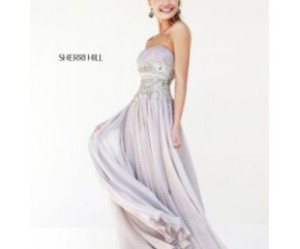 light grey evening gown image