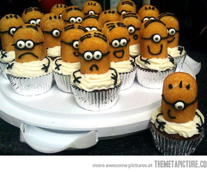 cupcakes, minions, and food image