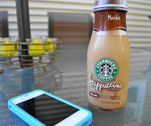 starbucks, iphone, and frappuccino image
