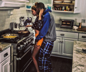 boyfriend, kisses, and cooking image