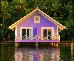 house, purple, and water image