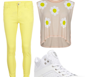 flowers, outfit, and hightops image