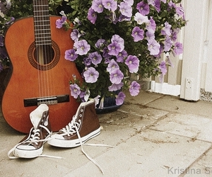 flowers and guitar image