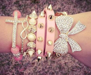 bracelets, infinity, and pink image