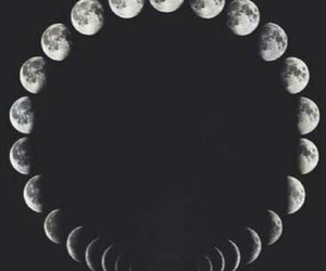 moon, black and white, and sky image