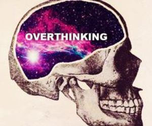 overthinking, galaxy, and skull image