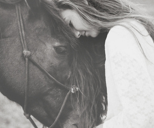horse, girl, and black image