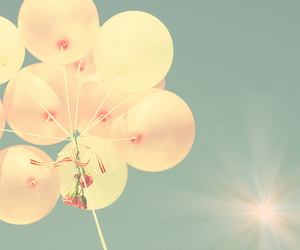 balloons, sun, and blue image