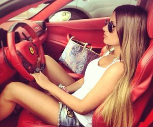 girl, car, and red image