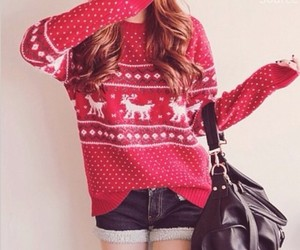 christmas, red, and sweater image