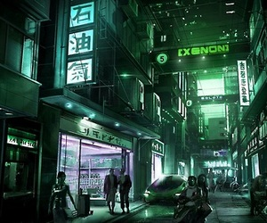 city, dark, and cyber image