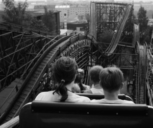 black and white, Roller Coaster, and photography image