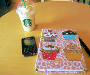 blackberry, starbucks, and coffee image