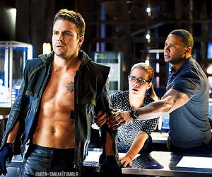 arrow, oliver queen, and david ramsey image