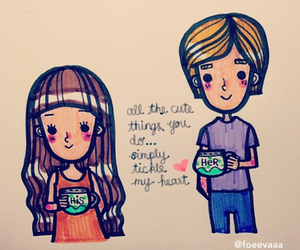 beautiful, boy and girl, and cartoon image