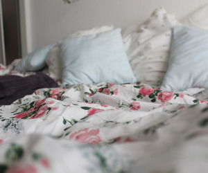 bed, pillow, and rose image