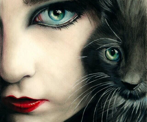 cat, eyes, and art image