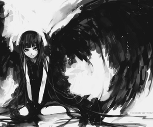 anime, angel, and black image