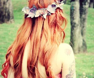 dress, longhair, and tattoo image