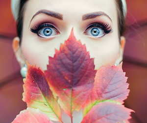 eyes, autumn, and leaves image