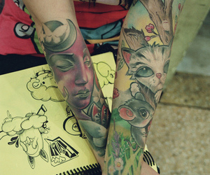 kitty, mouse, and tattoo image