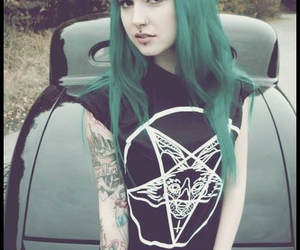 piercing, tattoo, and green hair image