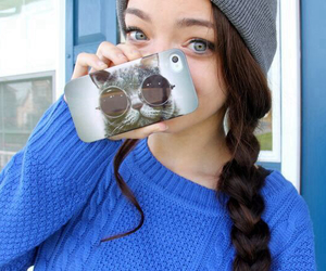 cat, girl, and iphone case image